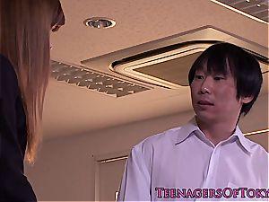 steamy japanese schoolgirl in uniform left with jism in her vulva