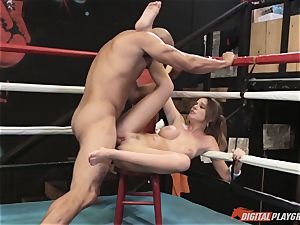 Alexis Adams cunny puckered in the boxing ring by immense stiffy