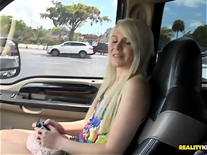 cute platinum-blonde Olivia Kassady picked up and plumbed in the truck