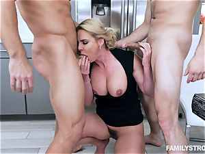 Phoenix Marie gets a steamy three way at the dinner table