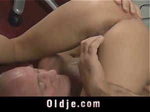 senior chief spoiling the crazy labia of his Romanian maid