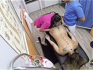 amazing three way nailing on the massage table