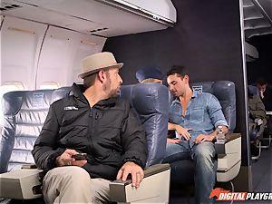insane stewardess Alexis Adams plumbing with the passengers
